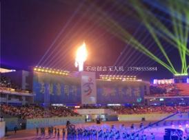 江西省省运会开幕,无人机点燃火炬
