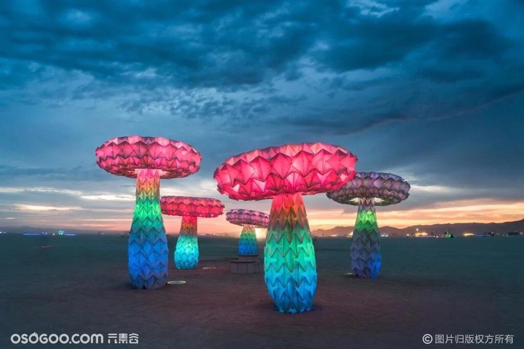 互动灯光艺术装置折纸蘑菇树