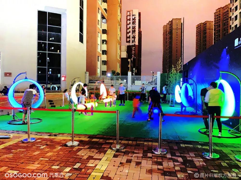 发光跷跷板发光秋千 彩色跑 夜间亮化互动设备厂家租赁
