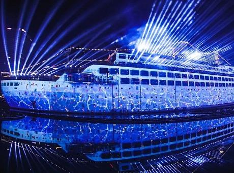 深圳海上世界明华轮3D mapping灯光光影秀《未来之光》