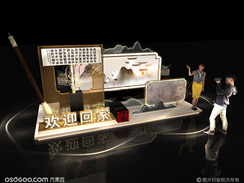 3D设计效果图打卡点  中式商业美陈打卡点