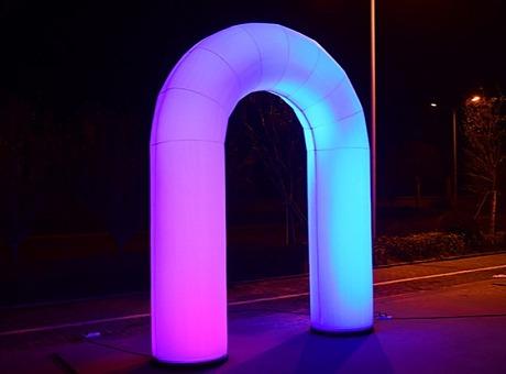 网红七彩充气互动拱门商场户外美陈装置拍打变色炫彩拱门装饰