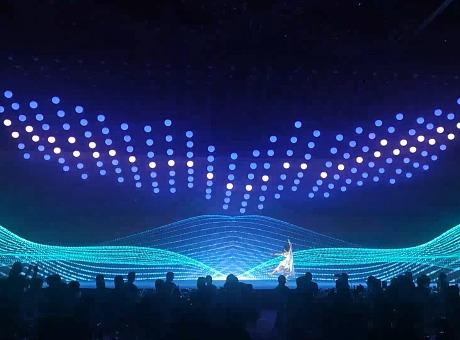 高端发布会创意科技感舞蹈结合LED数控球与激光雕刻开场表演