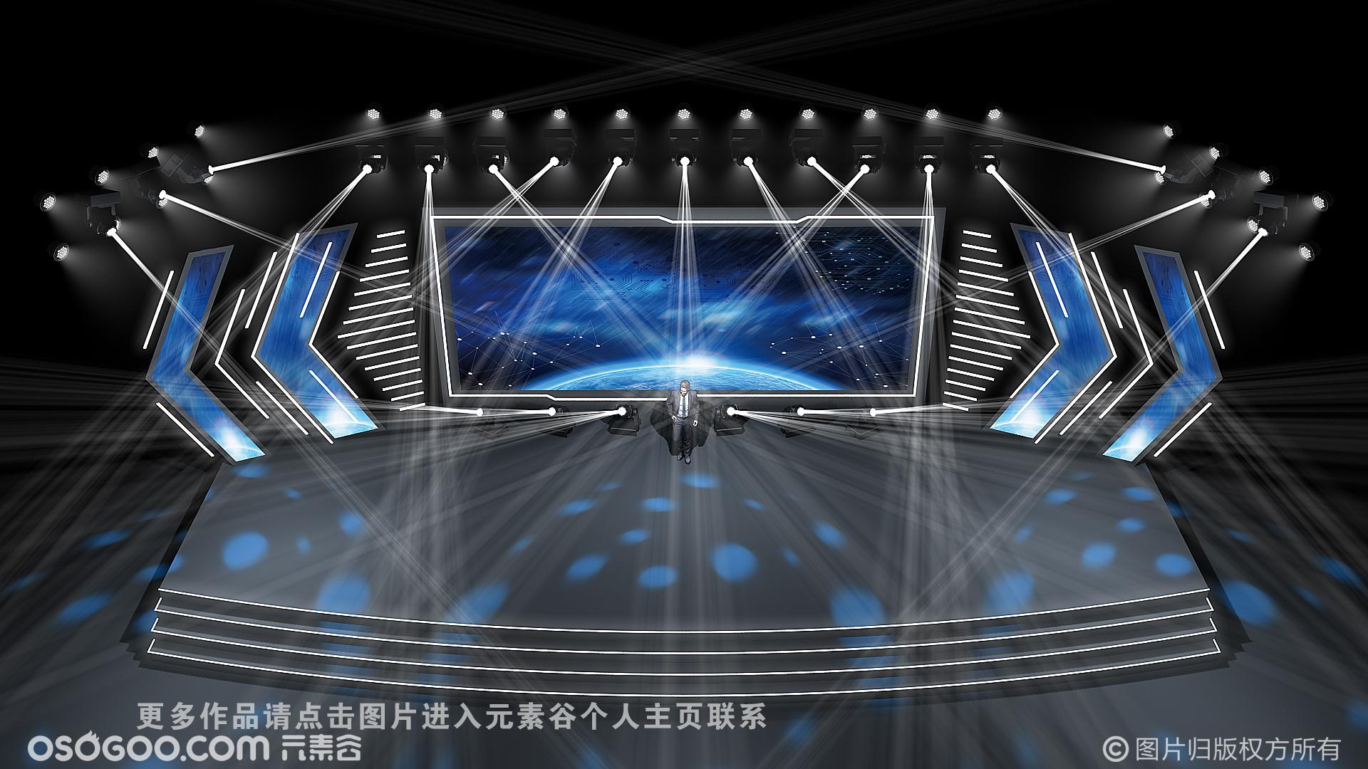 麦田舞美设计2020云直播舞美效果图设计定制(临摹作品)