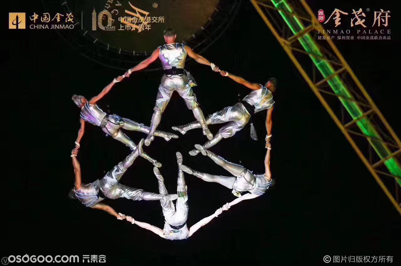 高空威亚表演,花式高空表演,大型人形户外节目演出