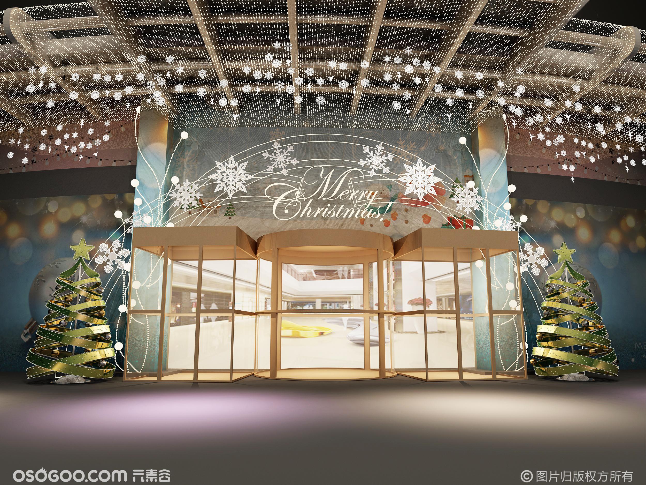 3D设计效果图▪圣诞节商场门头装饰灯圣诞美陈