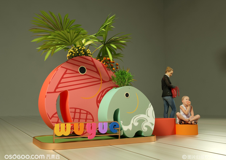 商场儿童DP休息区与花钵设计