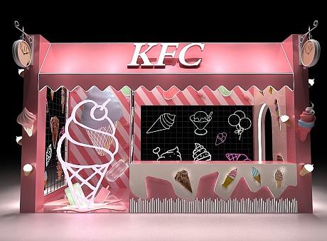 KFC甜品站美陈dp点售卖区 麦当劳肯德基 3D效果图设计