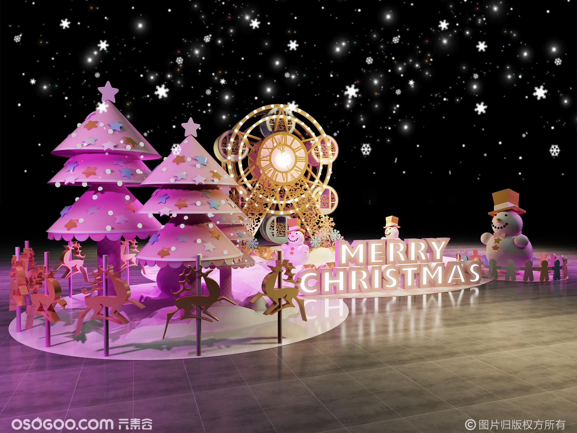 3D设计效果图▪商场圣诞节美陈打卡点设计
