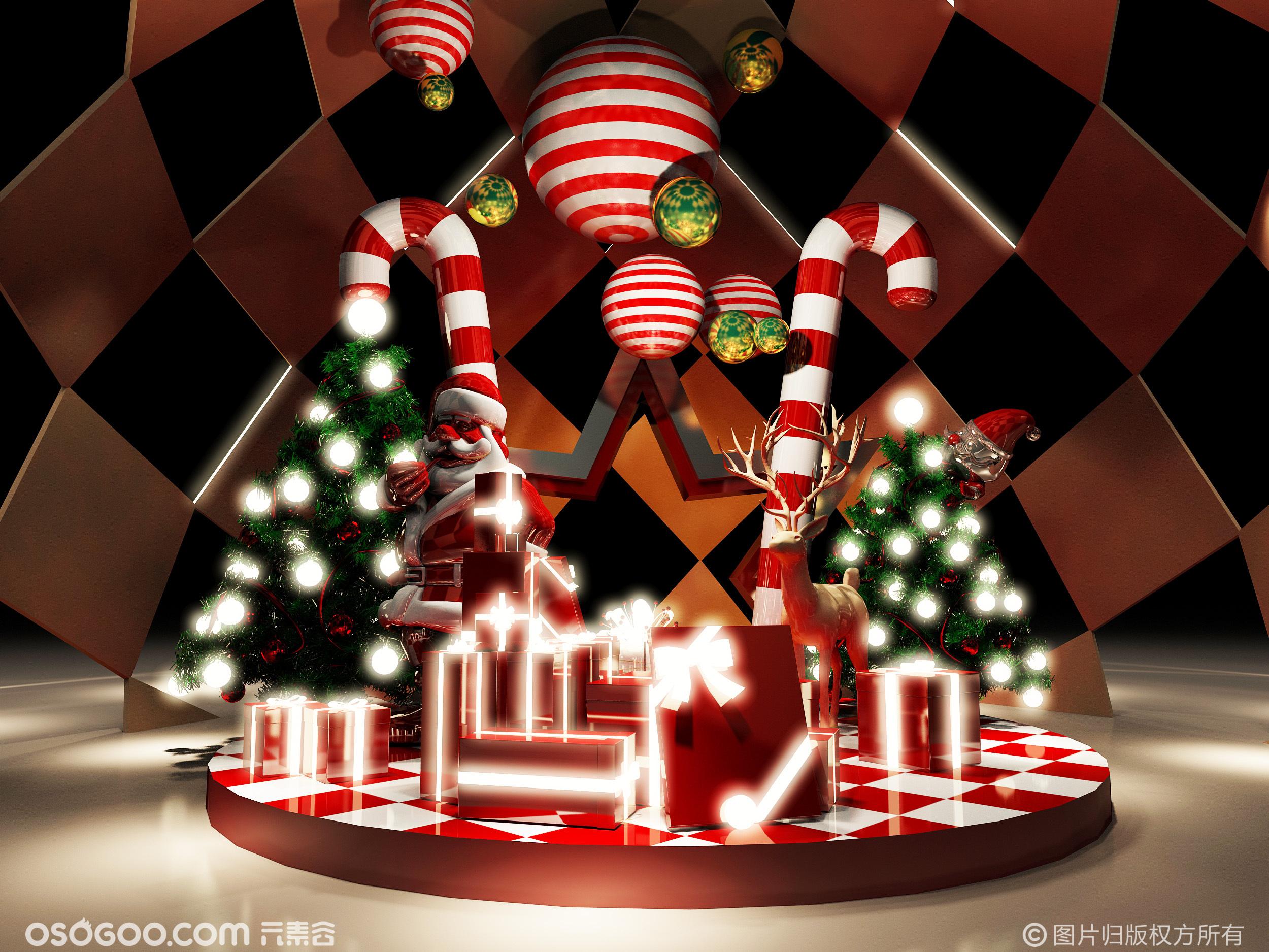 3D设计效果图▪商场圣诞老人的糖果屋打卡点