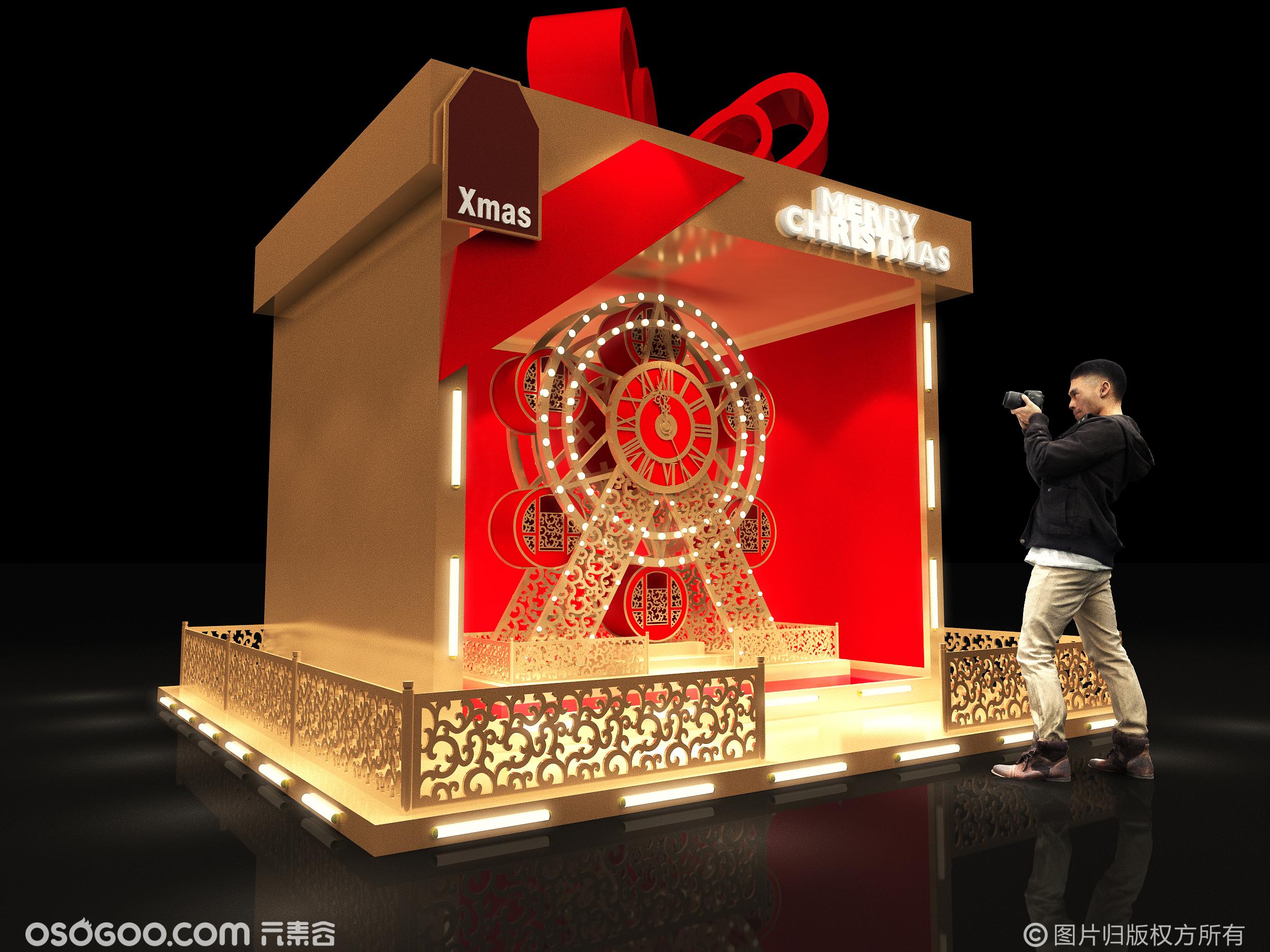3D设计打卡点效果图▪商场圣诞节礼盒美陈拍照打卡装置