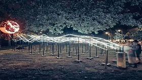 幕明互动装置《光波鼓》景区夜游亮化互动装置