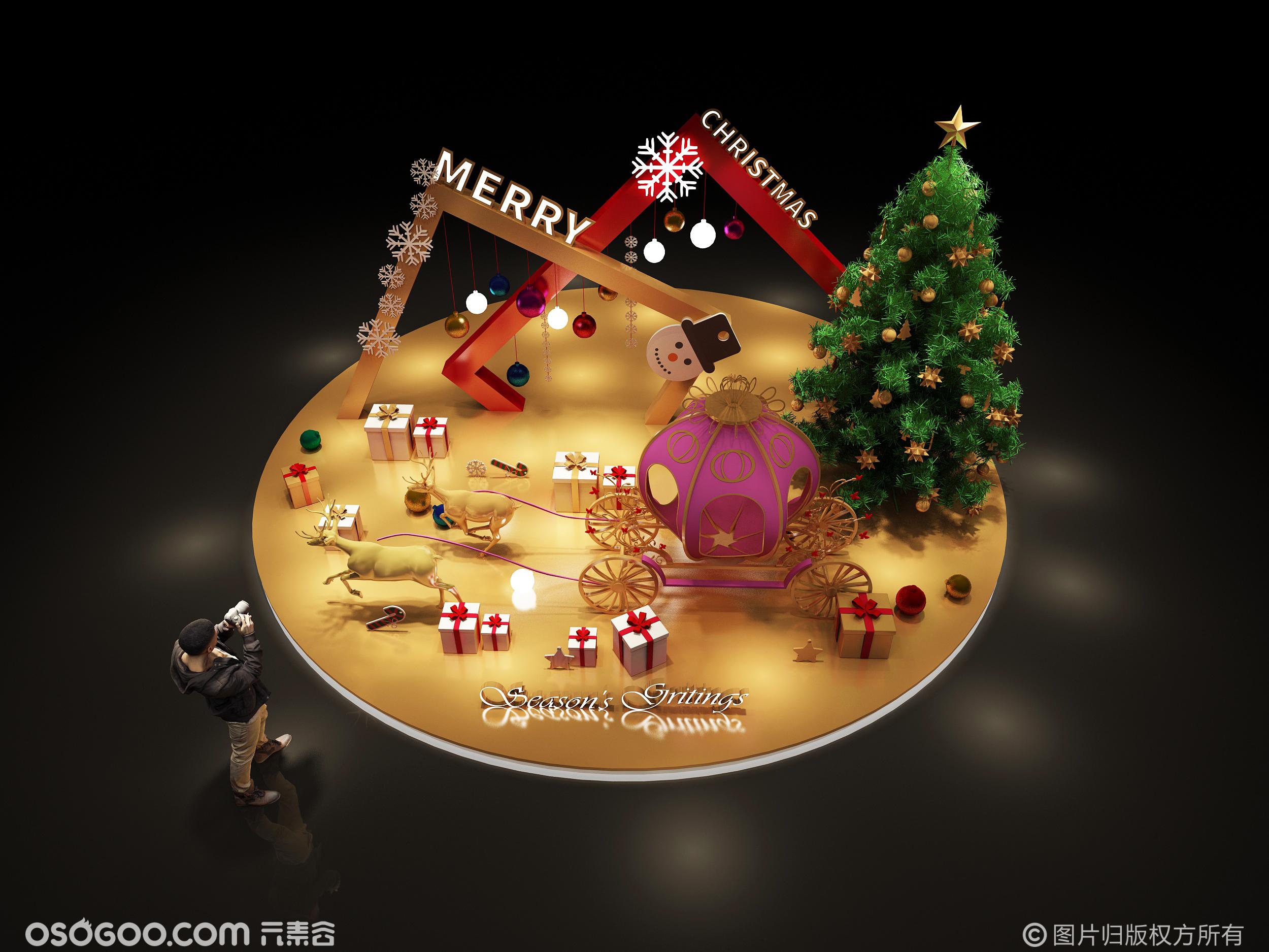 3D设计效果图▪商场圣诞美陈打卡点设计方案