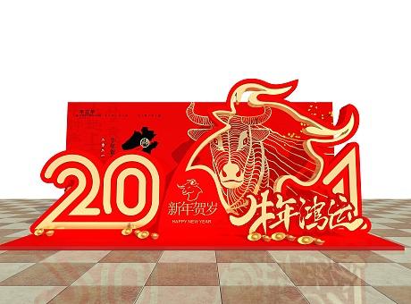 3D设计效果图▪商场春节网红牛年拍照框设计