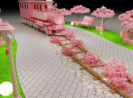 网红少女风-粉色系-小火车路演美陈