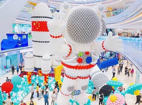 商场气球大型气球太空展 气球美陈制作 气球布置