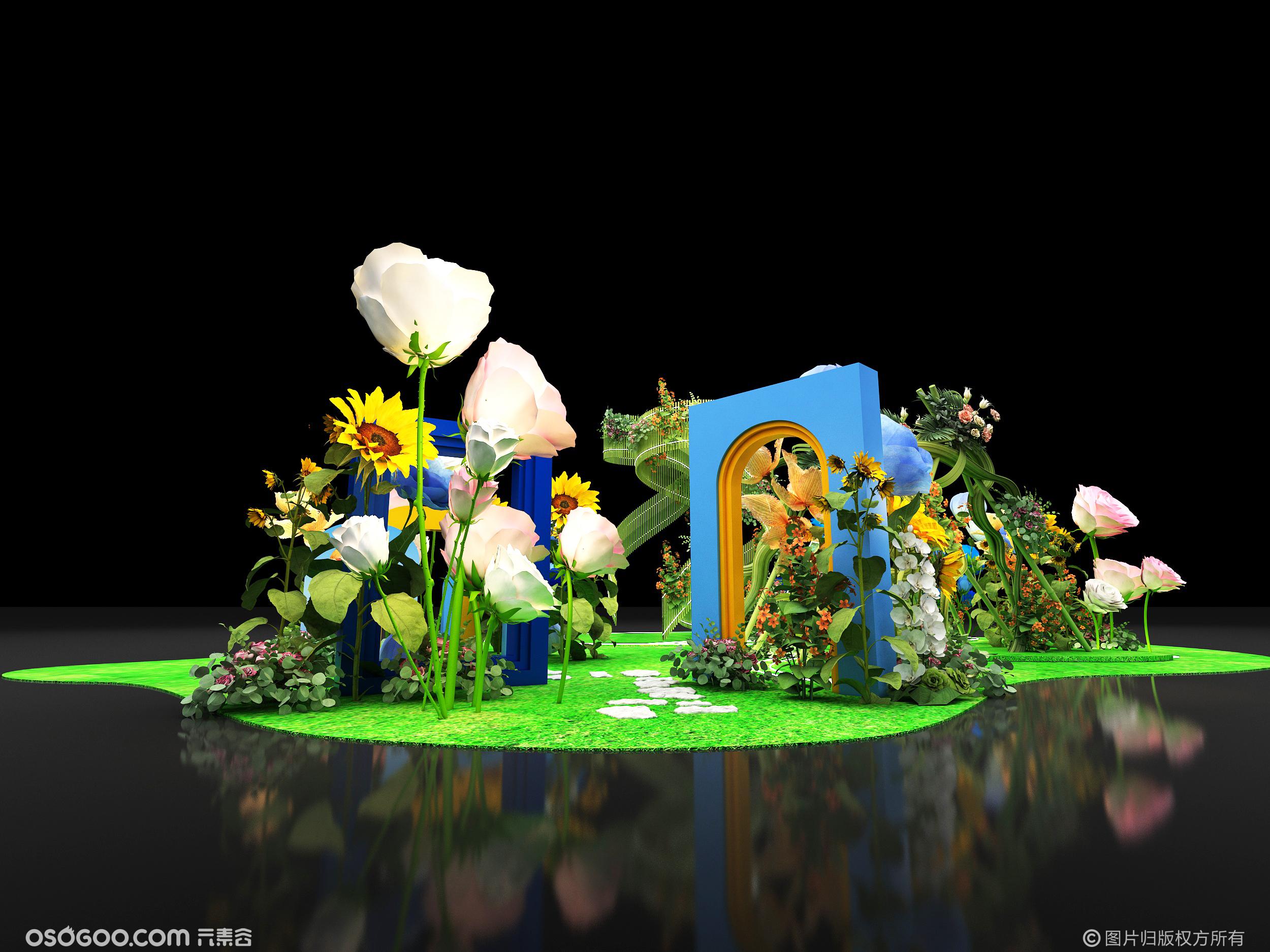 3D效果图▪商场中庭花艺梦境美陈拍照打卡点设计