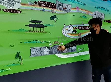 投石科技案例:湖南长沙京东超市宝贝趴互动触摸墙装置